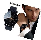 New Men's Modern Leather Stainless Steel Military Sport