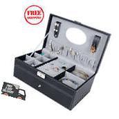 Mens Black Leather Jewelry Box 6 Watch Organizer Storage