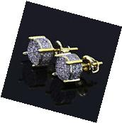 Mens Gold Plated Two Tone ICED OUT Cz Micropave Earring Stud