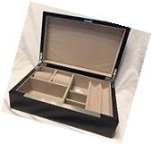 New Mens Lacquer Wood Jewelry Box Case Organizer SRP $129.95