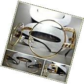 Mens VINTAGE RETRO Style Clear Lens EYE GLASSES Round Gold