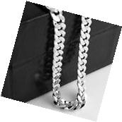 Mens 18k White Gold Plated 24in Italian Cuban Chain Necklace