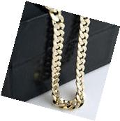 Mens 14k Yellow Gold Plated 24in Italian Cuban Chain