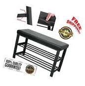 Metal Shoe Bench 2-Tier Rack Storage Cabinet Organizer Faux