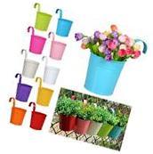 Metal Iron Flower Pot 10 Colours Hanging Balcony Garden