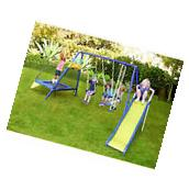 Metal Swing Slide Trampoline Set Backyard Children