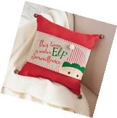 Mud Pie MH6 Sleigh Mates Christmas Home Decor Elf Pillow