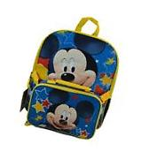 """Disney Mickey Mouse 16"""" Canvas School Backpack Book Bag w/"""
