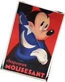 "Mickey Mouse Fantasia ""Chapeaux Mousesant"" French Art Deco"