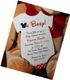 Mickey Mouse Onesie Baby Shower Invitation - All Wording
