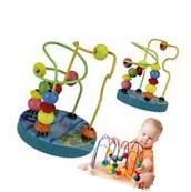 Mini Wooden Children Kids Baby Colorful Around Beads
