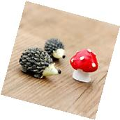 Miniature Garden Fairy Ornament Set Hedgehog & Mushroom Set