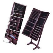 Mirror Jewelry Cabinet Armoire W/ Stand Mirror Rings,