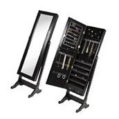 NEW Full Length Mirror Jewelry Storage Armoire Tilting Cheval Cabinet Organizer