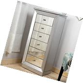 Mirrored Jewelry Armoire Cabinet Tall Storage Chest
