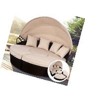 Outdoor Mix Brown Rattan Patio Sofa Furniture Round