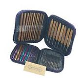 Mixed Aluminum Handle Crochet Hooks Kit Bamboo Wood Knitting Knit Needles NEW