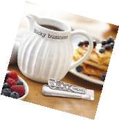 Mud Pie ML7 Circa Kitchen Syrup Ceramic Pitcher & Pancake