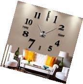 Modern DIY Large Wall Clock 3D Mirror Surface Sticker Home
