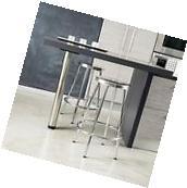 Set of 2 Modern Inspired Design Chrome Metal Bar Stools