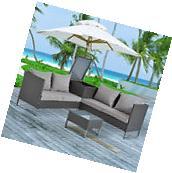 Modern 4pc Patio Furniture Sectional Rattan Wicker Sofa Set