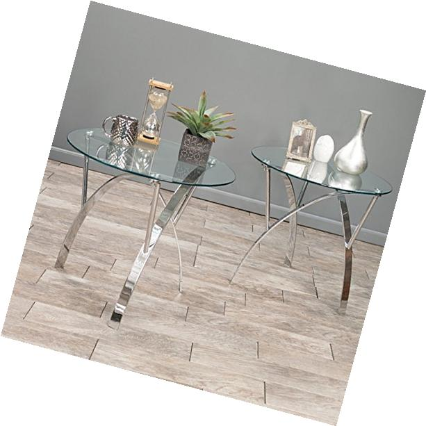 Modern 3 Piece Round Glass Coffee Table Set in Black Metal