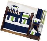 Sweet Jojo Designs Modern Stripe Navy Blue Lime Green Crib