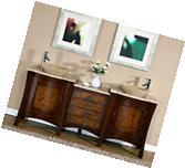 72-inch Modern Travertine Top Double Bathroom Vessel Sink