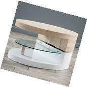 Modern Design White Gloss, Wood Oval Swivel Rotating Coffee