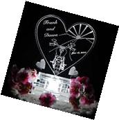 Motorcycle Heart Lighted Wedding Cake Topper Acrylic Cake