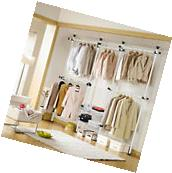 Movable Coat Garment Rack DIY Clothes Hanger Wardrobe 4poles