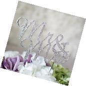 MR and MRS Silver Crystal Rhinestone Wedding Cake Topper