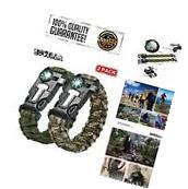 2Pcs Multifunctional Paracord Bracelet Wrist Outdoor