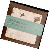 aden + anais Muslin Hooded Towel & Washcloth Set, Hide & Sea