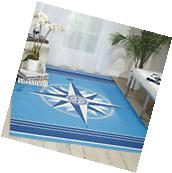 5x8  Nautical Compass Coastal Blue Indoor Outdoor Area Rug