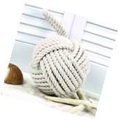 """Nautical Monkey's Fist Knot Doorstop Large 6.5"""" Bookend"""