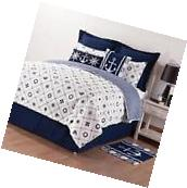 Nautical/Striped Pattern Reversible Cotton Quilt Set