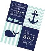 Navy Blue and Aqua Nautical Nursery Prints, Whale Nursery