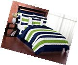 Navy Blue Lime Green White Stripes Twin Kids Teen Boy Room