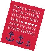 Navy Blue and Red Nautical Nursery Print, Anchor Nursery