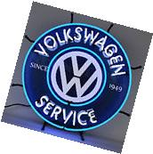 Neon sign Volkswagen Service since 1946 Huge bright Beetle