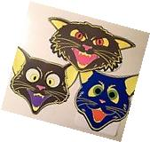 Beistle Nite Glo Spooky Cats Halloween Decorations Set of 3