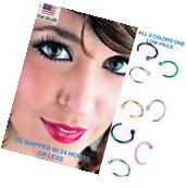 8pcs Nose Ring Open Hoop Lip Body Piercing clip on Studs