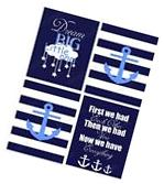 Nursery Baby Decor 8x10 Wall Art Print Lot  Navy Blue