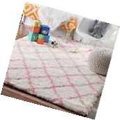 Nursery Rugs For Girls Baby Pink Cloudy Shag Trellis Soft