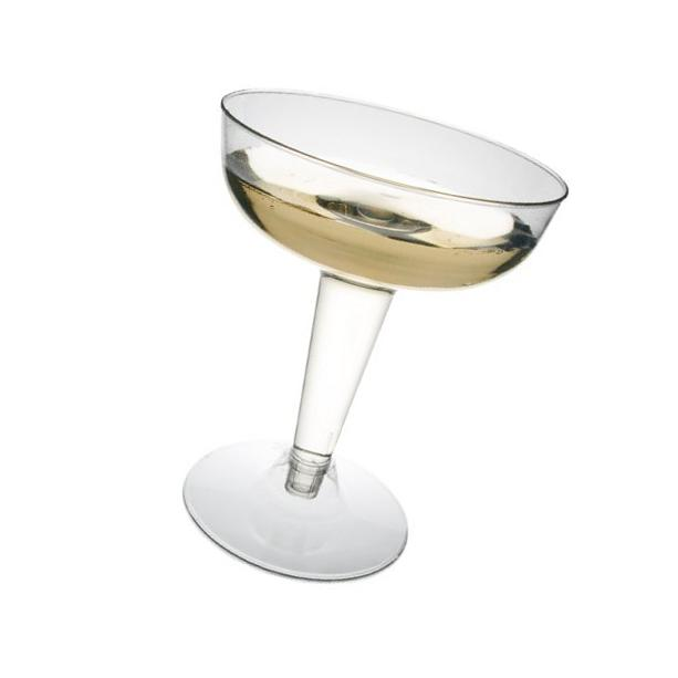 Party Essentials N48 Hard Plastic 2-Piece Champagne Glass, 4
