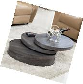 Oak Round Rotating Wood Coffee Table with 3 Layers Home