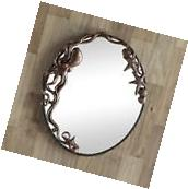 Octopus Oval Wall Mirror Hanging Art Decor Coastal Nautical