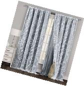 One  Gray & White Window Curtain Panel: Floral Design,