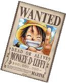 ONE PIECE ~ MONKEY D. LUFFY ~ WANTED DEAD OR ALIVE ~ 27x39